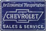 12 X 18 DISTRESSED CHEVROLET ECONOMICAL TRANSPORTATION SALES & SERVICE METAL SIGN