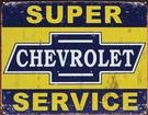 "16-1/2"" X 12-1/2"" Distressed Chevrolet Super Service Metal Sign"