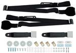 Black Retractable 3-Point Conversion Bucket Seat Belt Set with Chrome Lift Style Buckle