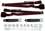 BURGUNDY 3 POINT RETRACTABLE FRONT SEAT BELT SET  WITH CHROME LIFT STYLE  BUCKLE