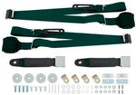 Dark Green Retractable 3-Point Conversion Bucket Seat Belt Set with Chrome Lift Style Buckle