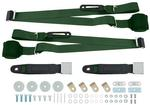 Green Retractable 3-Point Conversion Bucket Seat Belt Set with Chrome Lift Style Buckle
