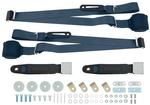 Blue Retractable 3-Point Conversion Bucket Seat Belt Set with Chrome Lift Style Buckle