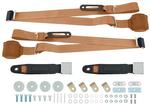 TAN 3 POINT RETRACTABLE FRONT SEAT BELT SET  WITH CHROME LIFT STYLE  BUCKLE