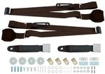 Dark Brown Retractable 3-Point Conversion Bucket Seat Belt Set with Chrome Lift Style Buckle