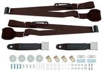 Dark Copper Retractable 3-Point Conversion Bucket Seat Belt Set with Chrome Lift Style Buckle