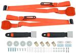 ORANGE 3 POINT RETRACTABLE FRONT SEAT BELT SET  WITH CHROME LIFT STYLE  BUCKLE