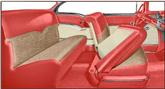 1955 Bel Air 2-Door Hardtop Red Vinyl / Beige Cloth Upholstery Set