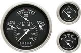 1957 Chevrolet Black Face Tetra Series Gauge Set with Flat Glass