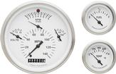 1957 CHEVROLET WHITE  FACE TETRA SERIES WITH  FLAT GLASS GAUGE SET
