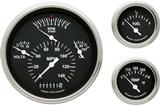 1957 Chevrolet Black Face Tetra Series Gauge Set with Curved Glass
