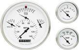 1957 Chevrolet White Face Tetra Series Gauge Set with Curved Glass
