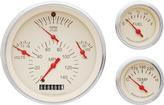 1957 Chevrolet Tan Face Tetra Series Gauge Set with Curved Glass