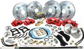 "1955-57 Front and Rear Big Brake Set with 13""/12"" Drilled Rotors and Red 2 Piston Calipers -"