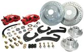 "1955-64 Chevrolet Front Big Brake Conversion Set with 13"" Drilled Rotors and 2 Piston Red Calipers"