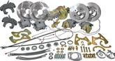 "1955-57 9"" Ford Rear End Front/Rear Disc Brake Set with 2"" Drop Spindles & 10.5""/11"" Plain Rotors"