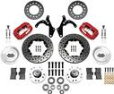 WILWOOD RED 4 PISTON CALIPERS / 11 DRILLED ROTORS FOR 2 DROP SPINDLE DISC BRAKE SET