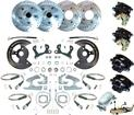 1955-64 CHEVROLET F/S - 4 WHEEL MANUAL DISC BRAKE CONV SET W/ 11 DRILLED ROTORS & CHROME MASTER CYL