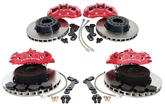 "1965-82 Corvette C6 Z06 F&R Brake Upgrade - 13"" Plain Rotors, Red Corvette Logo,6&4 piston Calipers"