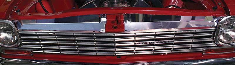1963-64 Nova Radiator Support Filler Panels No Logo Polished