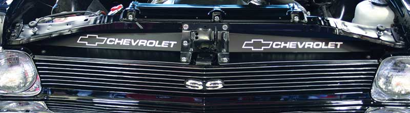 1968-72 Nova With AC Radiator Support Filler Panels Etched Bow Tie/Chevrolet Logo Black Anodized