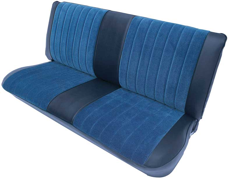 1973-80 GM Pickup Truck W/ Std Or Crew Cab - Vinyl/Velour Front Seat Upholstery Set - Dark Blue/Blue