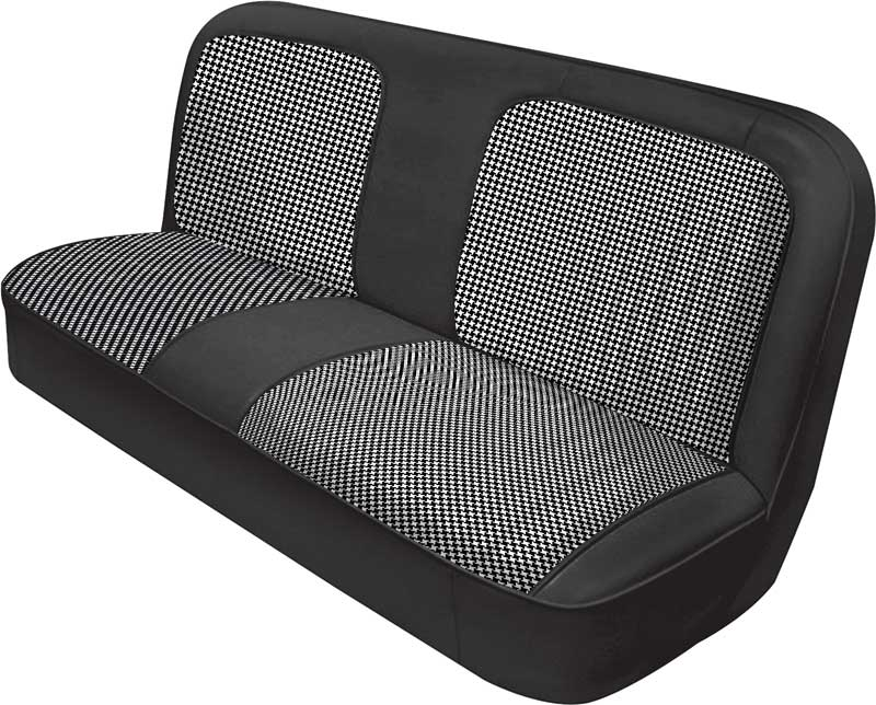 1971-72 GM Truck Bench Seat Upholstery - Black Vinyl with Black and White Houndstooth Inserts
