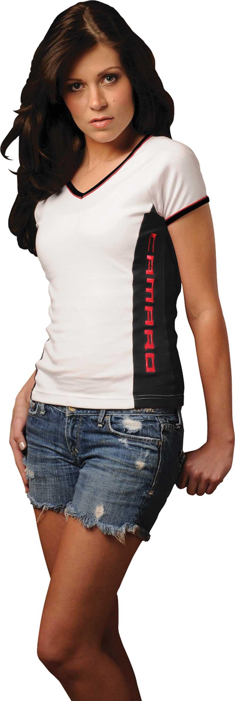 Small White Ladies V-Neck T-Shirt with Black Side Panel and Red Block Style Camaro Lettering