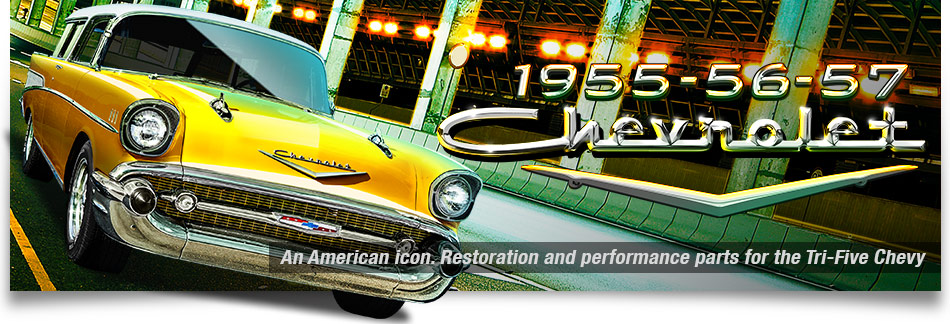 Graphic of an American icon 1957 Chevy Nomad in bright yellow cruising