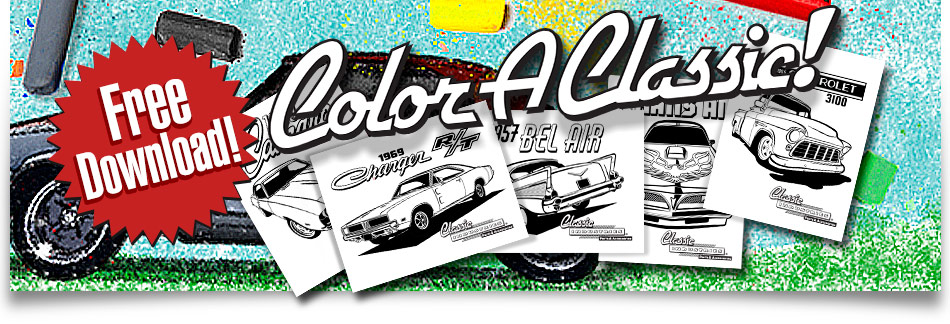Free Coloring Book download!  24 pages of Classic Cars!