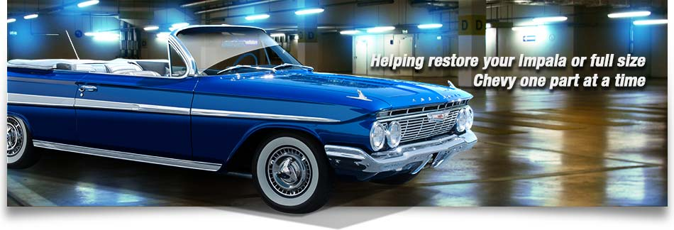 Graphic of a 61 impala in blue cruising fast in the parking lots