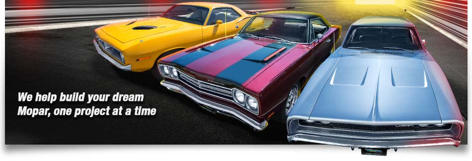 Graphic of Mopar vehicles showing Barracuda, Belvedere and Charger